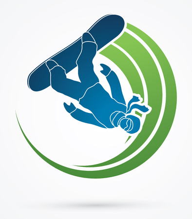 snowboarder: Snowboarder jumping graphic vector.