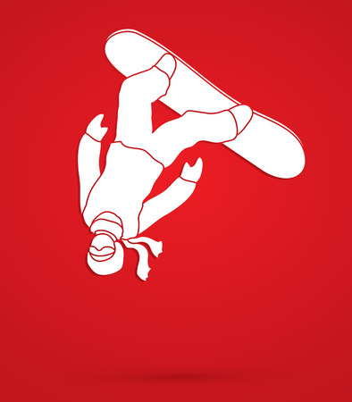 somersault: Snowboarder jumping graphic vector.