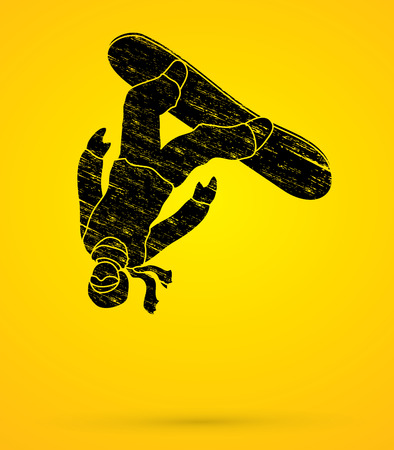 somersault: Snowboarder jumping designed using grunge brush graphic vector. Illustration