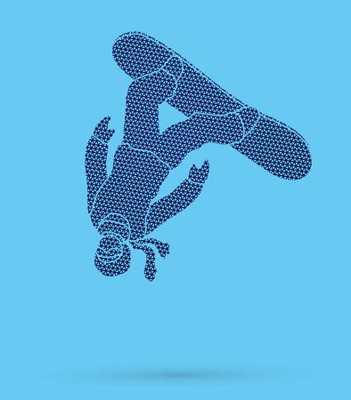somersault: Snowboarder jumping designed using geometric pattern graphic vector.