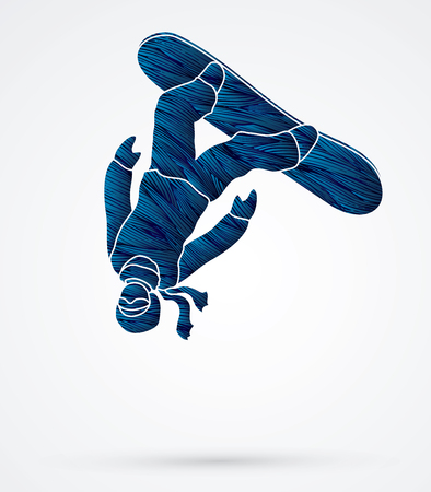 somersault: Snowboarder jumping designed using blue grunge brush graphic vector. Illustration