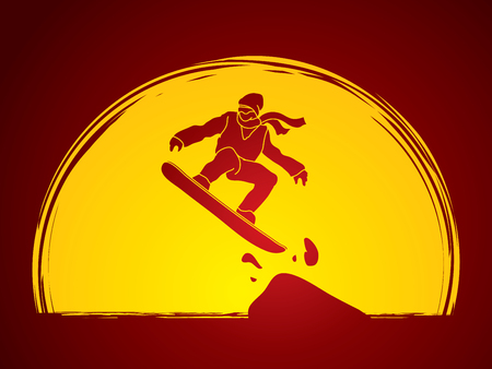 snowboarder jumping: Snowboarder jumping designed on moonlight background graphic vector.
