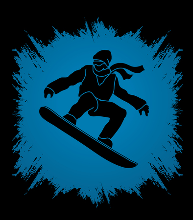 snowboarder jumping: Snowboarder jumping designed on grunge frame background graphic vector.