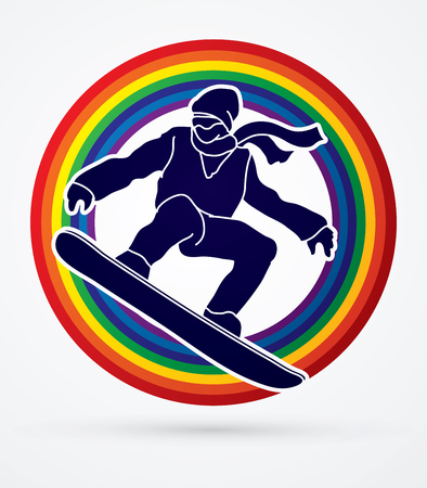 snowboarder jumping: Snowboarder jumping designed on line rainbows background graphic vector. Illustration