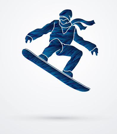 Snowboarder jumping designed using blue grunge brush graphic vector. Illustration