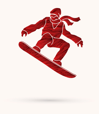 Snowboarder jumping designed using red grunge brush graphic vector.