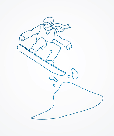 snowboarder jumping: Snowboarder jumping designed using outline graphic vector.
