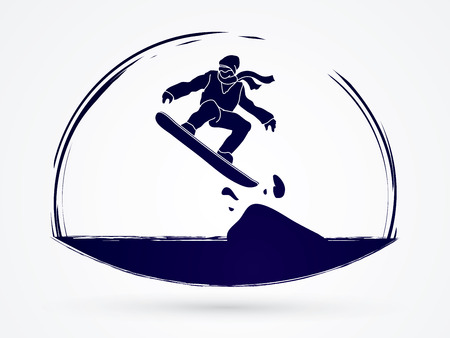 snowboarder jumping: Snowboarder jumping graphic vector.