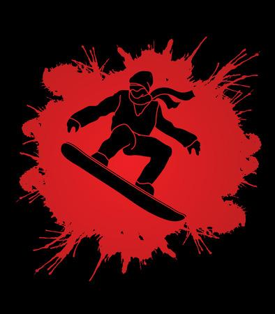 snowboarder jumping: Snowboarder jumping designed on splash ink background graphic vector.