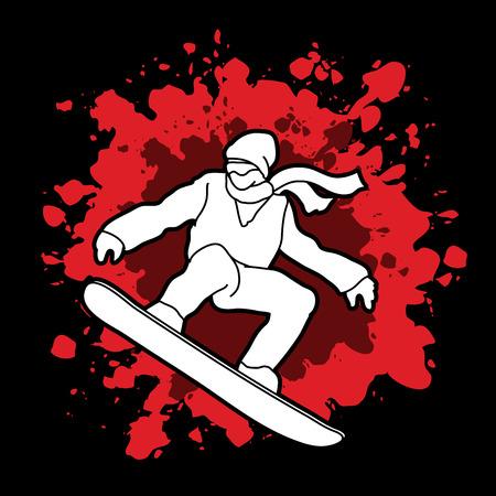 snowboarder jumping: Snowboarder jumping designed on splash blood background graphic vector.