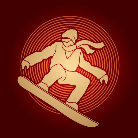 snowboarder jumping: Snowboarder jumping designed on circle line background graphic vector. Illustration