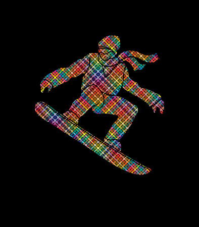 snowboarder jumping: Snowboarder jumping designed using colorful pixels graphic vector.