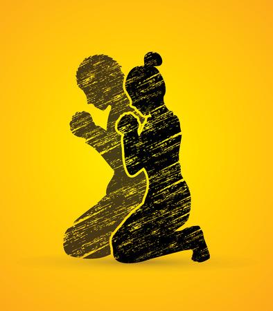 Uomo e donna pregare insieme progettati utilizzando grafico pennello grunge vettore Vettoriali