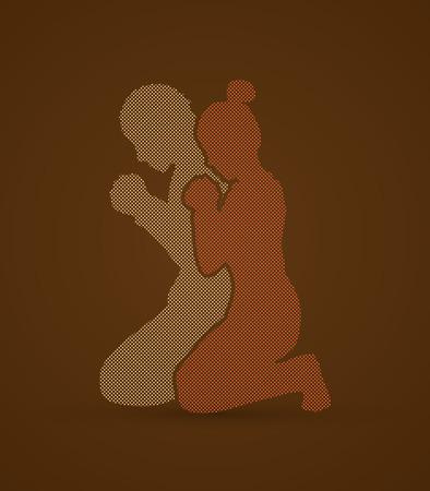 El hombre y la mujer orar juntos diseñan utilizando puntos píxeles de gráficos vectoriales