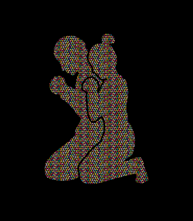 praise hands: Man and Woman pray together designed using colorful mosaic graphic vector Illustration