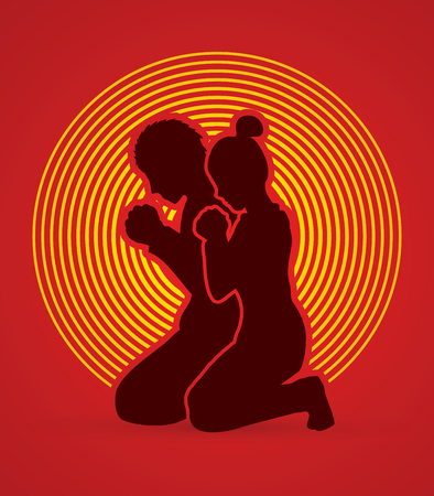 praise: Man and Woman pray together designed on circle light background graphic vector