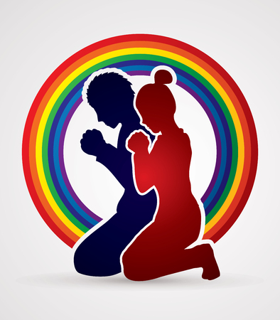 praise: Man and Woman pray together designed on rainbows background graphic vector