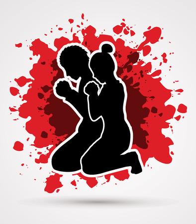 男と女一緒に祈るスプラッシュ血背景グラフィック デザイン  イラスト・ベクター素材