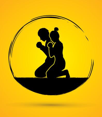 Uomo e donna pregano insieme di grafica vettoriale
