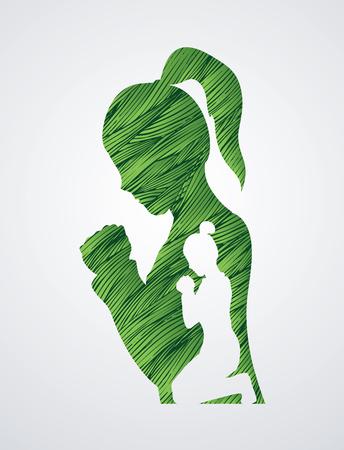 praise and worship: Woman prayer designed using green grunge brush graphic vector. Illustration