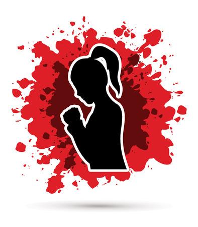 praise and worship: Woman prayer designed on grunge splash blood background graphic vector. Illustration