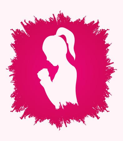 女性祈りグランジ背景グラフィック ベクトルで設計されています。