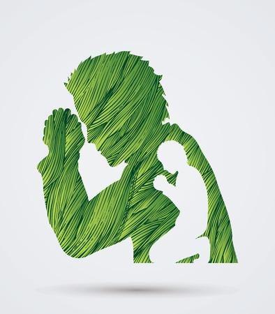 la oración hombre diseñada usando cepillo del grunge verde del gráfico de vector. Ilustración de vector