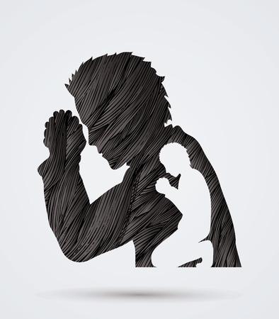 praise and worship: Man prayer designed using black grunge brush graphic vector.