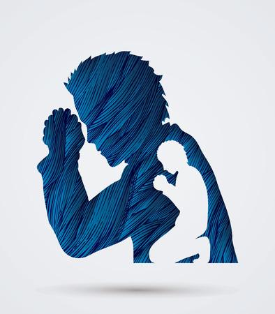 praise hands: Man prayer designed using blue grunge brush graphic vector.