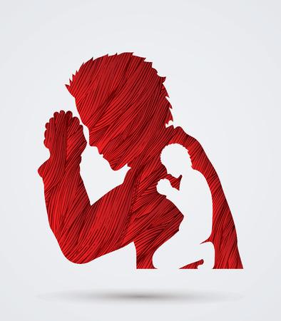 praise: Man prayer designed using red grunge brush graphic vector.