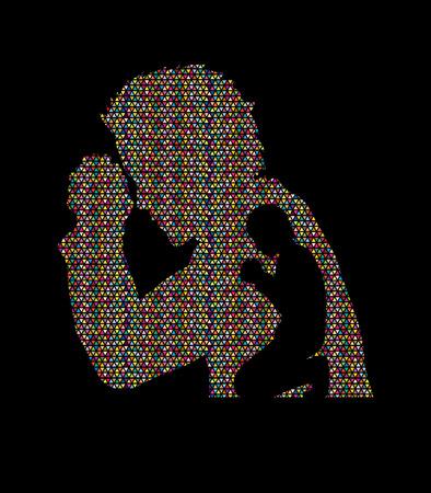 praise and worship: Man prayer designed using mosaic pattern graphic vector.