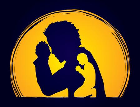 praise and worship: Man prayer designed on moonlight background graphic vector.