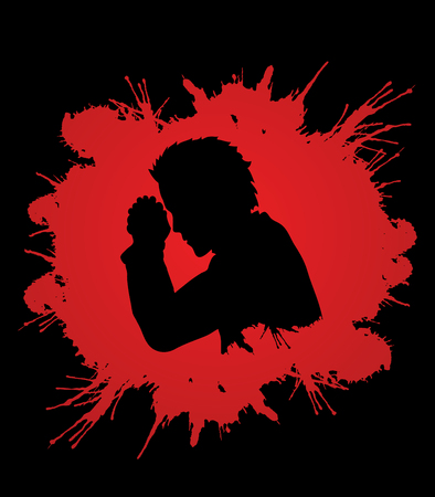 praise hands: Man prayer designed on grunge blood background graphic vector.