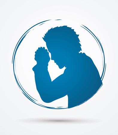 Man prayer graphic vector.