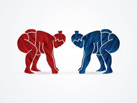 Sumo prepare to fight designed using red and blue grunge brush graphic vector.