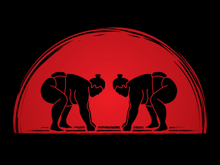 Sumo prepare to fight designed on sunrise background graphic vector.