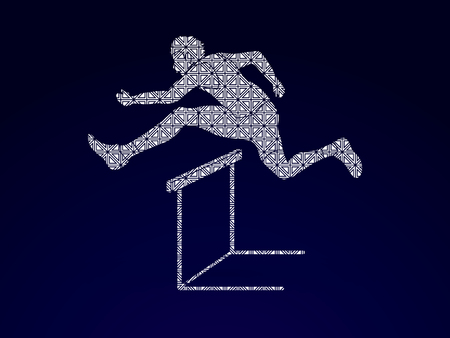 athleticism: Hurdler hurdling designed using luxury pattern graphic vector.