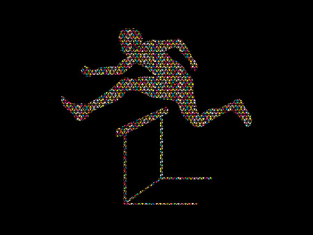 athleticism: Hurdler hurdling designed using colorful mosaic graphic vector. Illustration