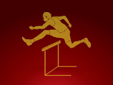 athleticism: Hurdler hurdling designed using geometric pattern graphic vector.