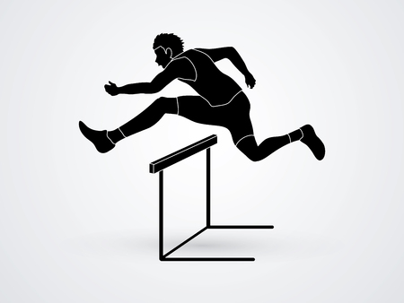 Hurdler hurdling designed using grunge brush graphic vector.