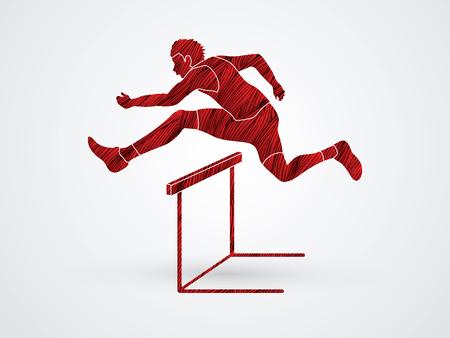 obstacle course: Hurdler hurdling designed using red grunge brush graphic vector. Illustration