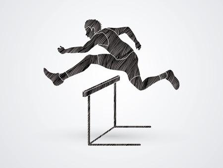 hurdling: Hurdler hurdling designed using black grunge brush graphic vector.