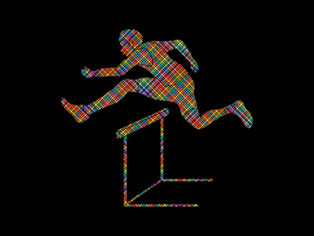 conquering: Hurdler hurdling designed using colorful pixels graphic vector.