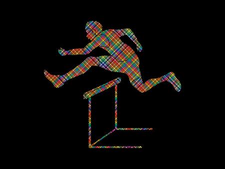 Hurdler hurdling designed using colorful pixels graphic vector.