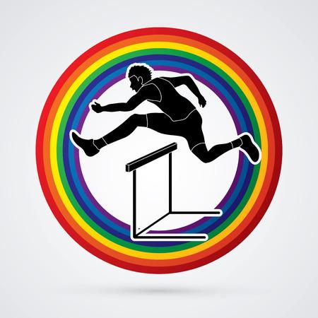 Hurdler hurdling designed on line rainbows background graphic vector. Vettoriali