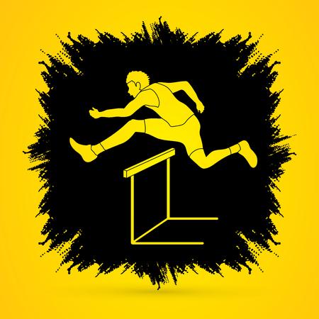 hurdling: Hurdler hurdling designed on grunge frame background graphic vector.
