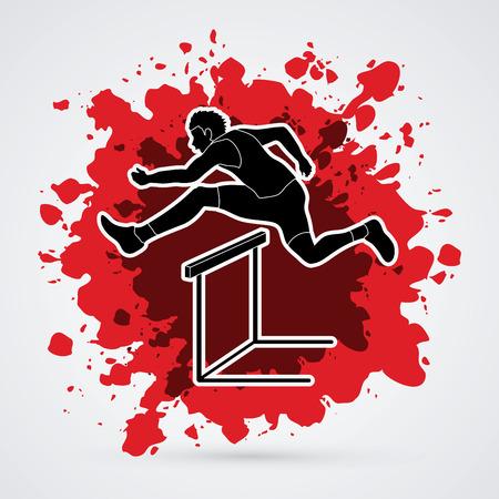 hurdling: Hurdler hurdling designed on splatter blood background graphic vector.