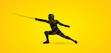 action Fencing conçu en utilisant brosse grunge noir vecteur graphique.