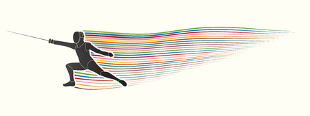 Azione Scherma progettato su grafico movimento linea vettoriale. Archivio Fotografico - 58441463