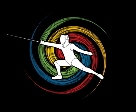 spin: Fencing action designed on spin wheel background graphic vector.
